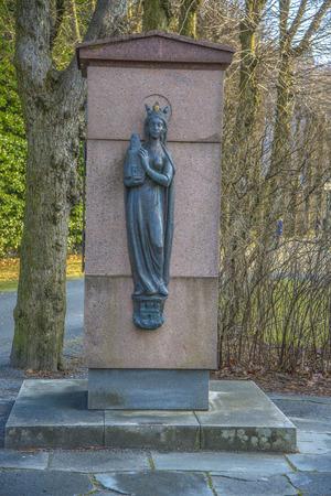 Standbeeld in Bergenhus Fotress in Bergen, Noorwegen Stockfoto - 38763845