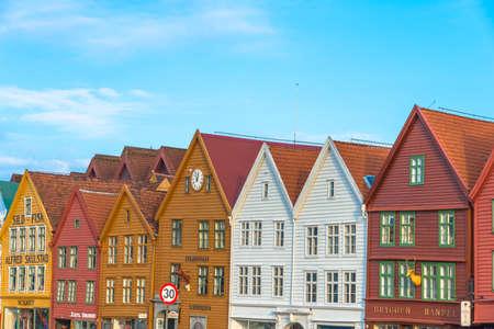 Bergen, Norway - February 14, 2015: historic buildings of Bryggen in the City of Bergen, Norway Stockfoto
