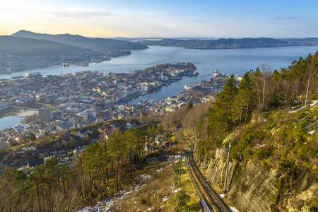 Aerial View of Bergen from Mount Floyen, Norway