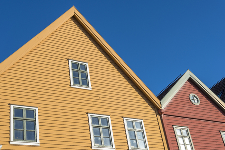 The colourful historic buildings of Bryggen in the City of Bergen, Norway Stockfoto