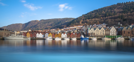 The colourful historic buildings of Bryggen in the City of Bergen, Norway Redactioneel