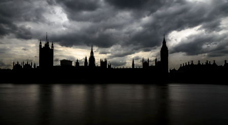Silhouette of Big Ben and Houses of Parliament, London, UK