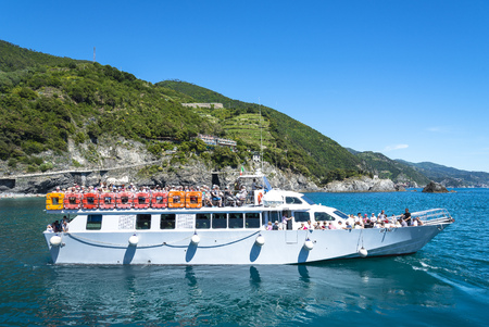 Cinque Terre, Italy- May 21, 2016: tourists travellng from Monterosso al Mare to the other towns in Liguria region on May 21, 2016 in Cinque Terre, Italy