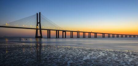 Vasco da Gama Bridge at sunrise, Lisbon, Portugal
