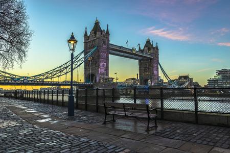 Tower Bridge at sunrise in London, England