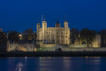 Tower Castle at night in London, England