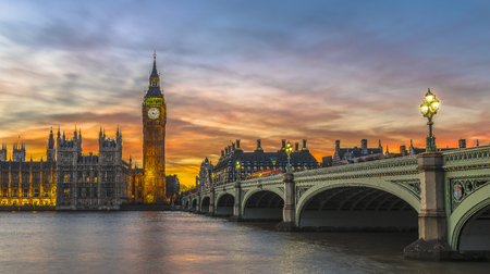 Big Ben and Houses of Parliament at sunset, London, UK