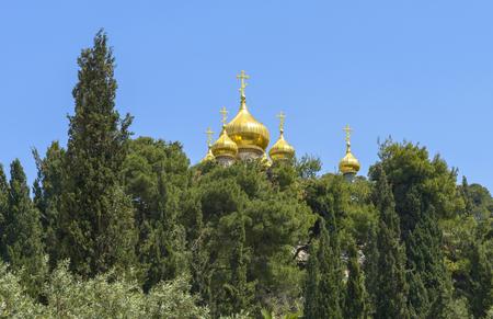 Russisch-orthodoxe kerk van Maria Magdalena op de Olijfberg in Jeruzalem, Israël Stockfoto - 80548826