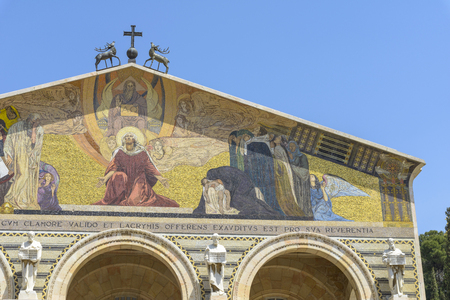 The Church of All Nations or Basilica of the Agony, is a Roman Catholic church near the Garden of Gethsemane at the Mount of Olives in Jerusalem, Israel Stockfoto