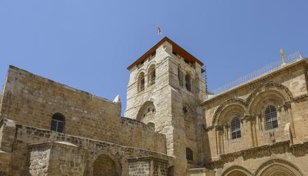 Kerk van het Heilige Graf in Jeruzalem, Israël Stockfoto - 80548835