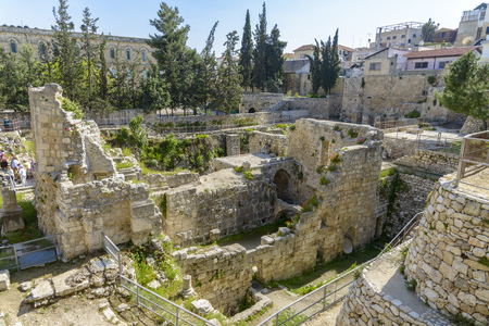 Excavated Ruins of the Pool of Bethesda and Church in Jerusalem