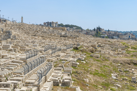 building feature: The Jewish Cemetery on the Mount of Olives in Jerusalem Stock Photo