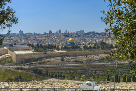 Panoramic view to Jerusalem Old city and the Temple Mount, Dome of the Rock and Al Aqsa Mosque from the Mount of Olives in Jerusalem