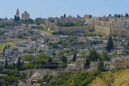 Dormition Abby and the Wall of Old Jerusalem, Israel