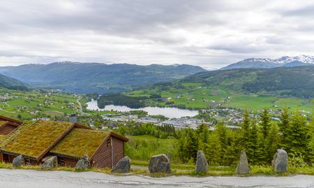 Arerial panoramic view of Voss, Hordaland, Norway 版權商用圖片