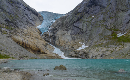 Glacier Briksdal in national park-view from the lake