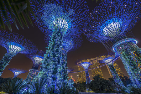 Singapore - April 13: Night view of the Supertree Grove in the Garden by the Bay with Marina Bay Sands background taken on April 13, 2018 in Singapore