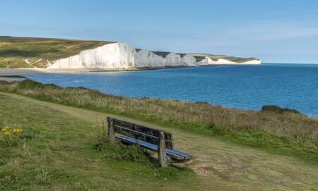 White cliffs (Seven Sisters) East Sussex, English Coastline, UK