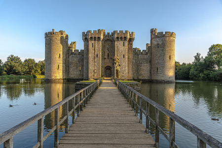 Historic Bodiam Castle and moat in East Sussex, England
