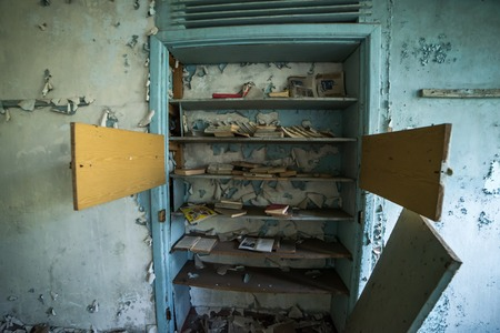 School in Ghost City of Pripyat, Chernobyl exclusion zone. Nuclear catastrophe Stock Photo