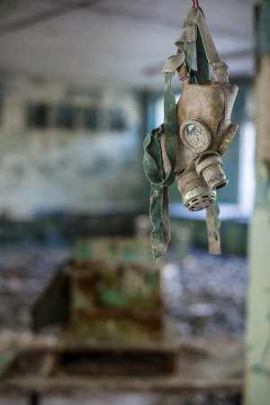 Gas masks in the middle school in Pripyat, Chernobyl exclusion zone. Nuclear catastrophe