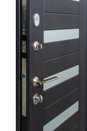 Open door. Door lock, Dark brown door closeup. Modern interior design, door handle. New house concept. Real estate.