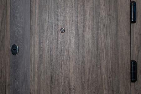Closed door.Dark brown wooden door closeup. Modern interior design, door handle. New house concept. Real estate.