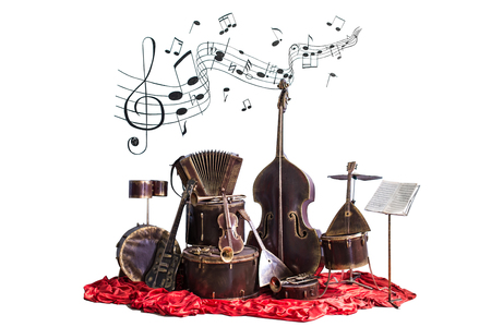 Old vintage musical instruments on a black  white background. Classical music instrument 版權商用圖片