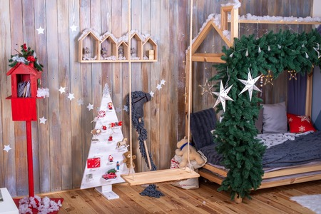 Christmas festive decorations, Christmas home room. children's room, new year