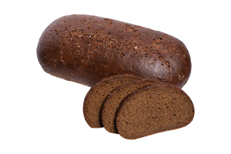 Fresh Sliced rye bread on white background Imagens