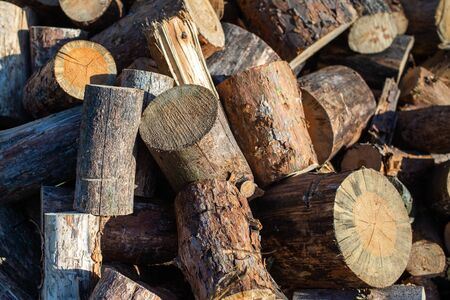 Firewood for furnace heating. Warehouse firewood for stove. Firewood stacked and prepared for winter Pile of wood logs Imagens - 147011776