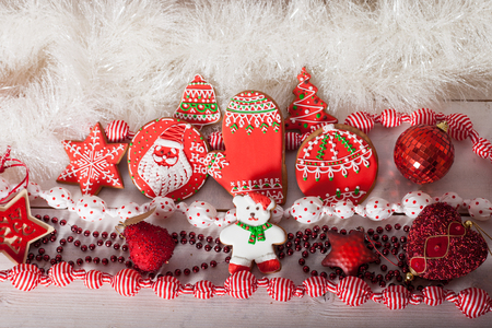 Christmas gingerbread painted icing  and vintage christmas handmade toys photo