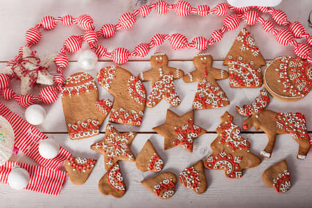 Christmas gingerbread painted icing photo