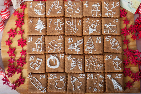 accessories horse: advent calendar, christmas cookies Stock Photo