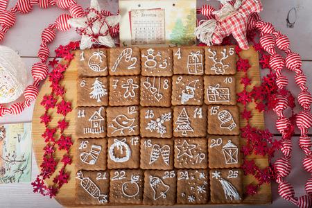 advent calendar, christmas cookies Stock Photo