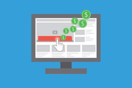 Video advertising. Pay per click on video advertising. Earing money on videos. Illustration