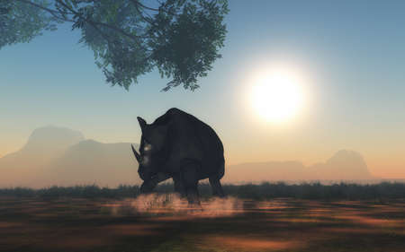 3D render of rhino ready to charge Stock Photo