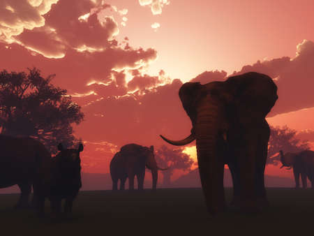 3D render of wild animals in a sunset landscape Stock Photo
