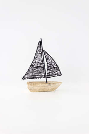 crafted: Isolated Wood&Iron Crafted Art  Sailboat