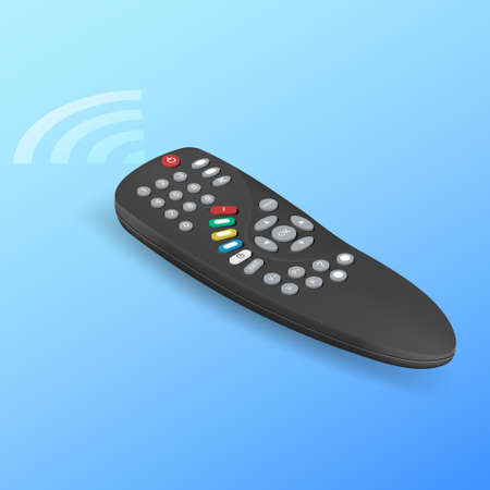The black remote control with a signal.Manual control device.Isometry.3D.Vector realistic illustration.