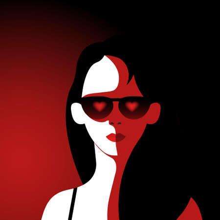 Young woman wearing glasses with heart.Passionate girl avatar.Love concept.Minimalism.Vector illustration in a flat style.