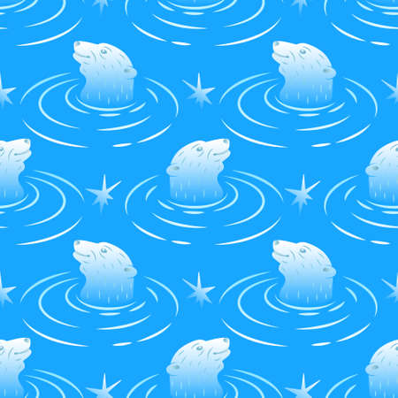Seamless pattern with floating polar bears.Vibrant print with repeating elements.Cute animal on a blue background.Vector illustration.
