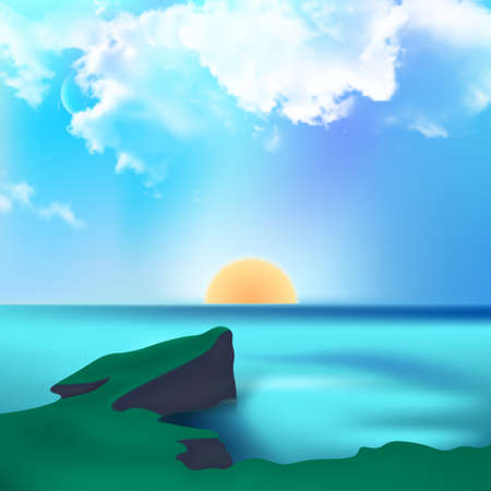 Seascape.Cliff on the background of the ocean.Rising sun with clouds.Wallpaper.Vector illustration in a realistic style.