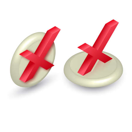 Set of icons cross on the button.Isometry.3D.Vector illustration in a flat style.
