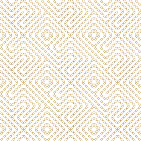 Seamless geometric pattern. An endlessly repeating texture of twisting, twisted lines.Background with golden diagonal elements. Surface for wrapping paper, shirts, cloths. Vector illustration in a linear style.