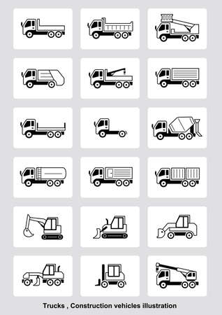 Trucks, construction vehicles illustration