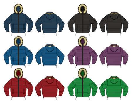 ダウン ジャケット (ファー フード) セットカラー バリエーションのイラスト  イラスト・ベクター素材