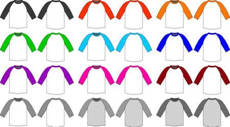 Raglan sleeve t-shirt illustration set