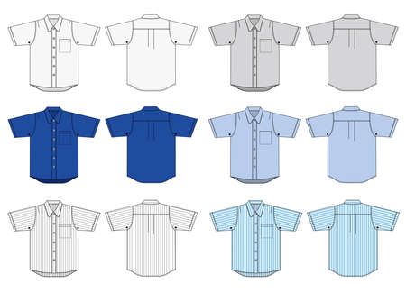 Button shirts illustration and color variations Ilustrace