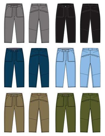 Denim pants illustration and color variations